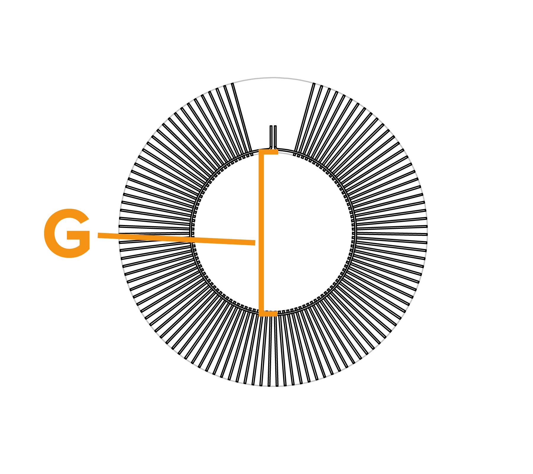 Tweebouts platte draadwikkelborstel - diagram G