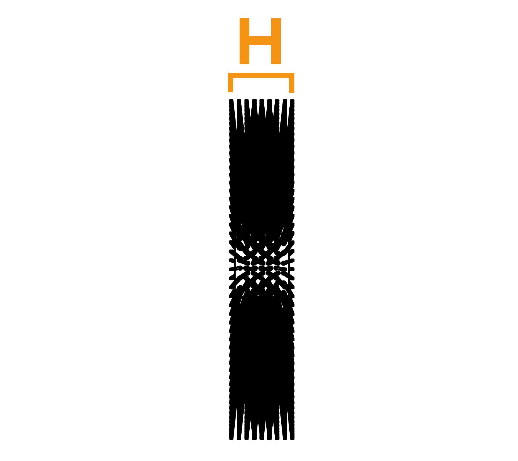 Tweebouts platte draadwikkelborstel - diagram H