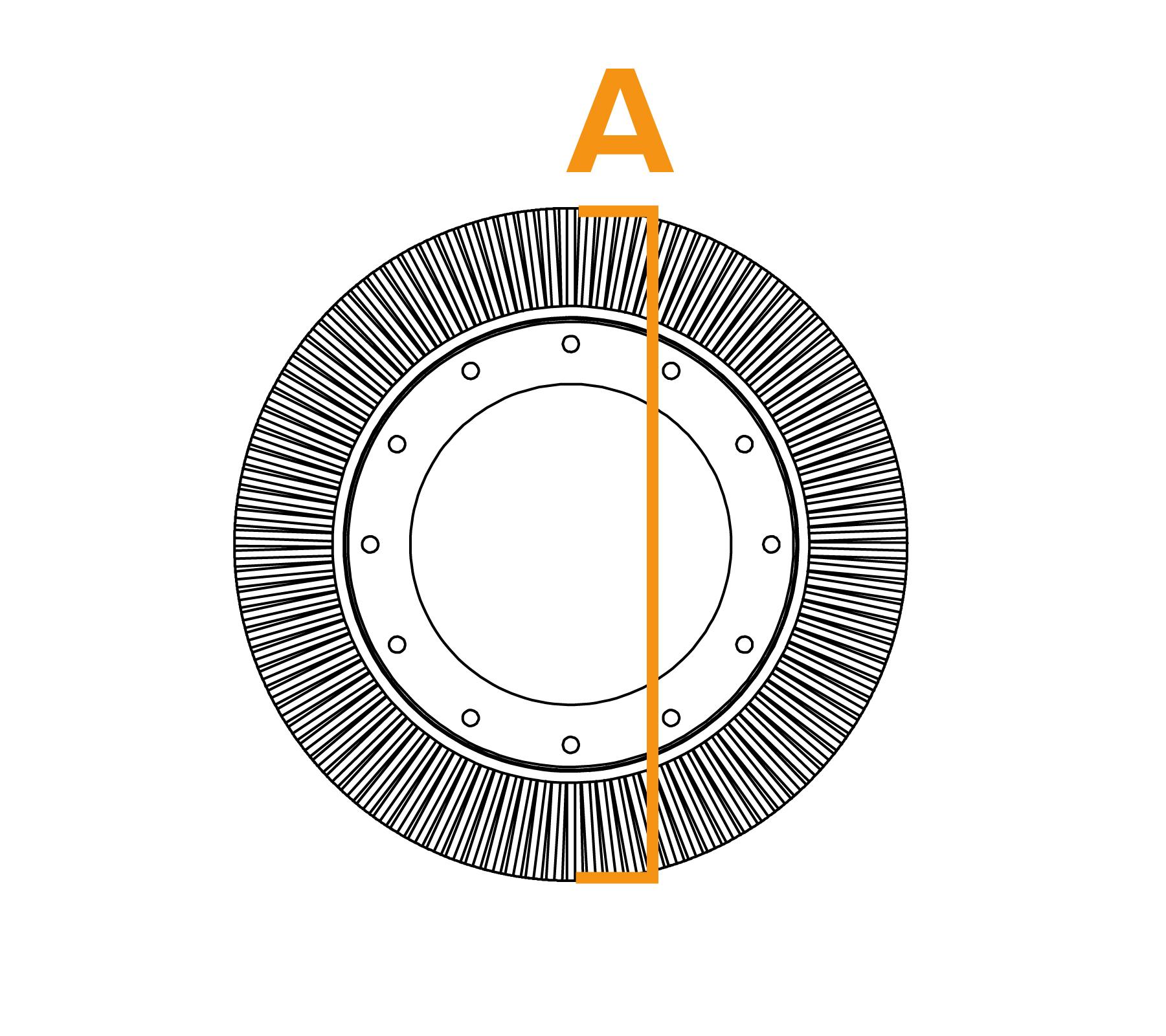 Potloodringborstel met grote diameter - diagram A