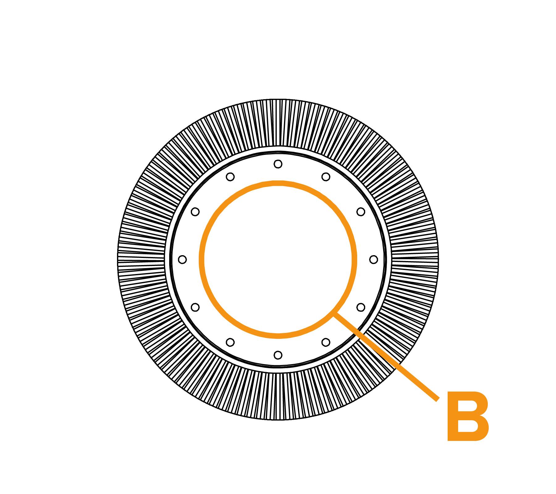 Potloodringborstel met grote diameter - diagram B