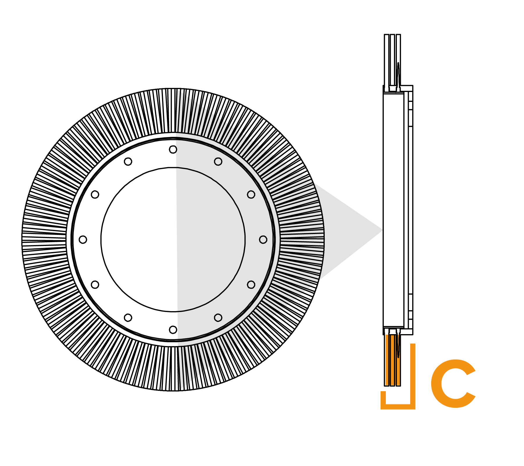 Potloodringborstel met grote diameter - diagram C
