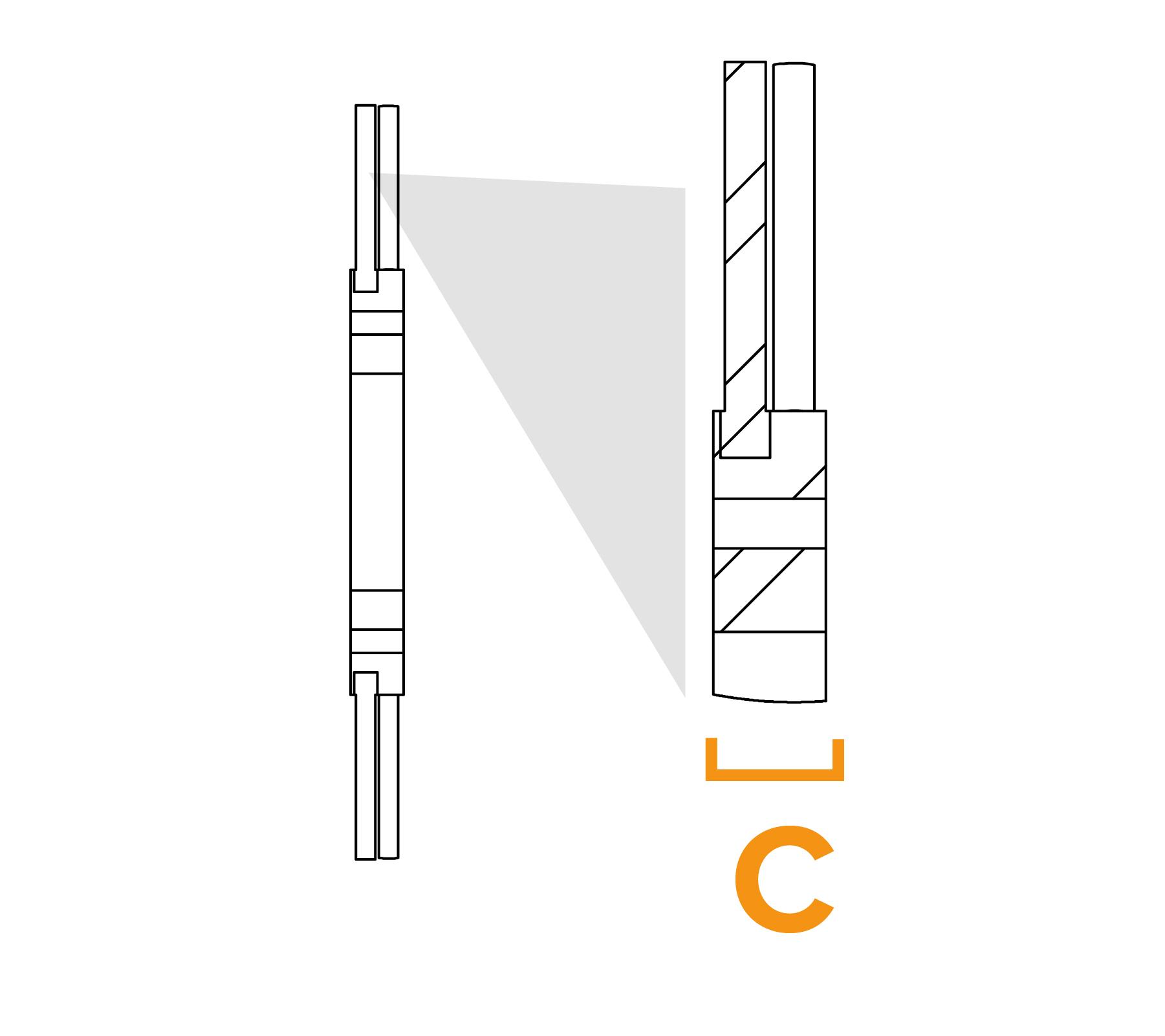 Potloodborstel met vaste kern - diagram C