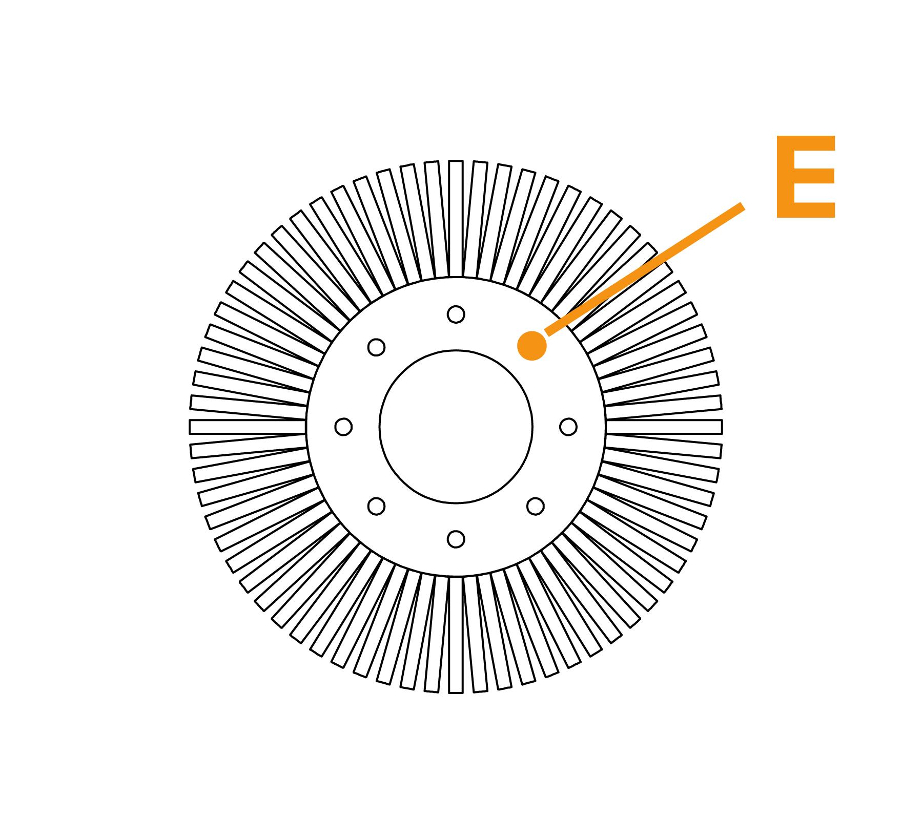 Potloodborstel met vaste kern - diagram E