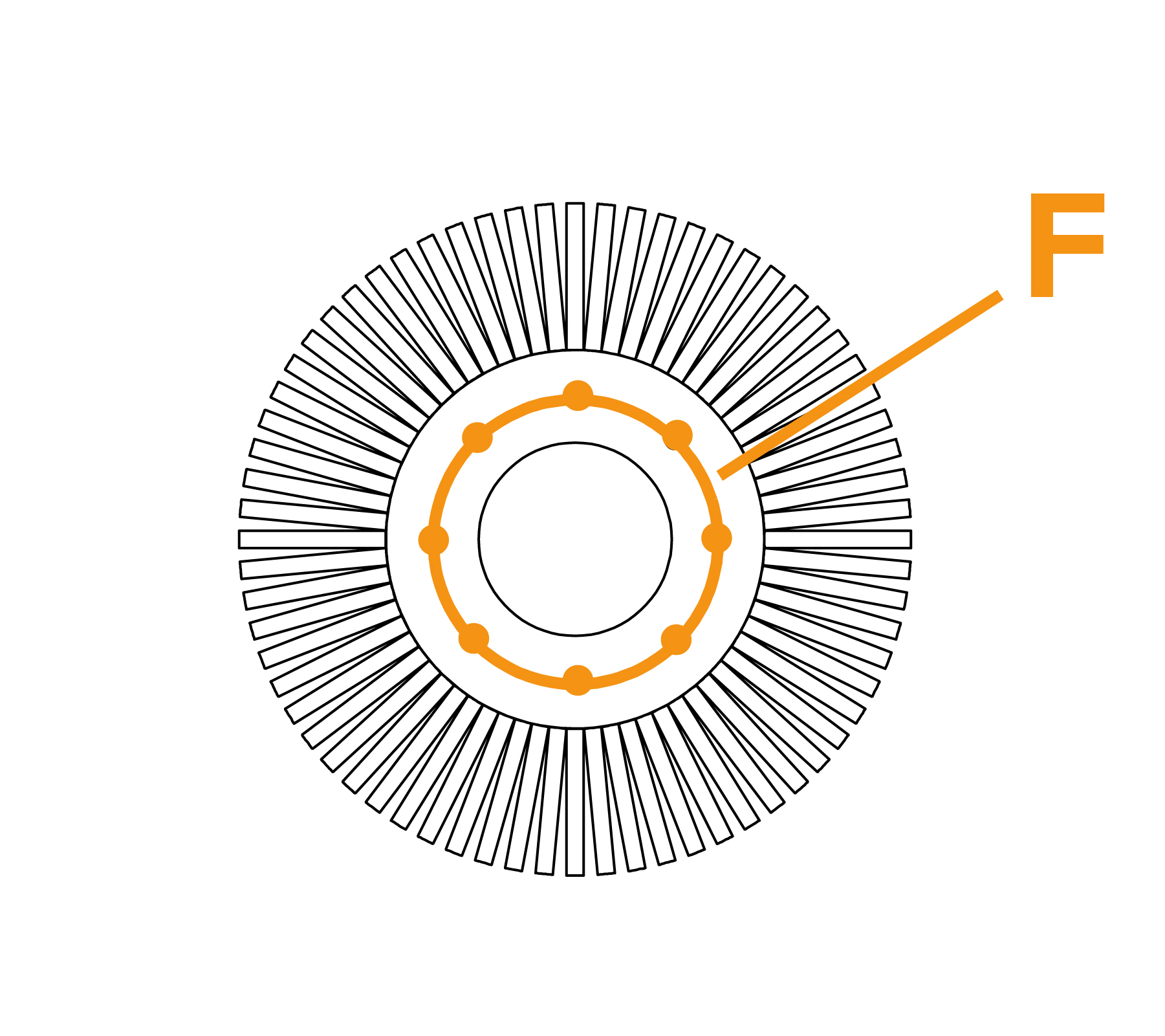 Potloodborstel met vaste kern - diagram F