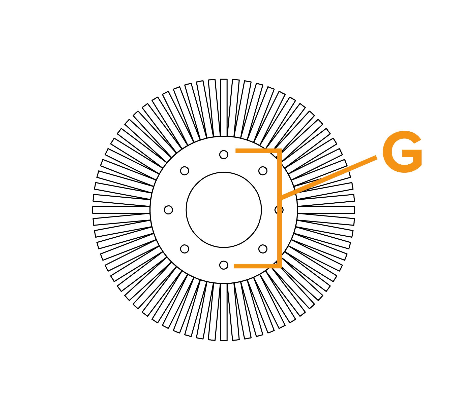 Potloodborstel met vaste kern - diagram G