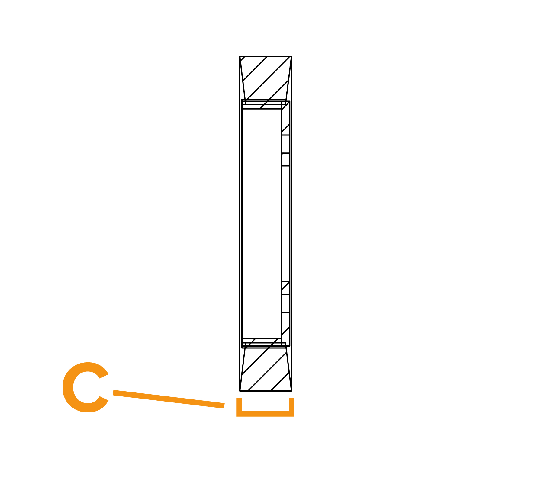 Borstel met platte draadflensring - diagram C